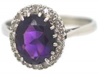 18ct White Gold, Amethyst & Diamond Oval Cluster Ring