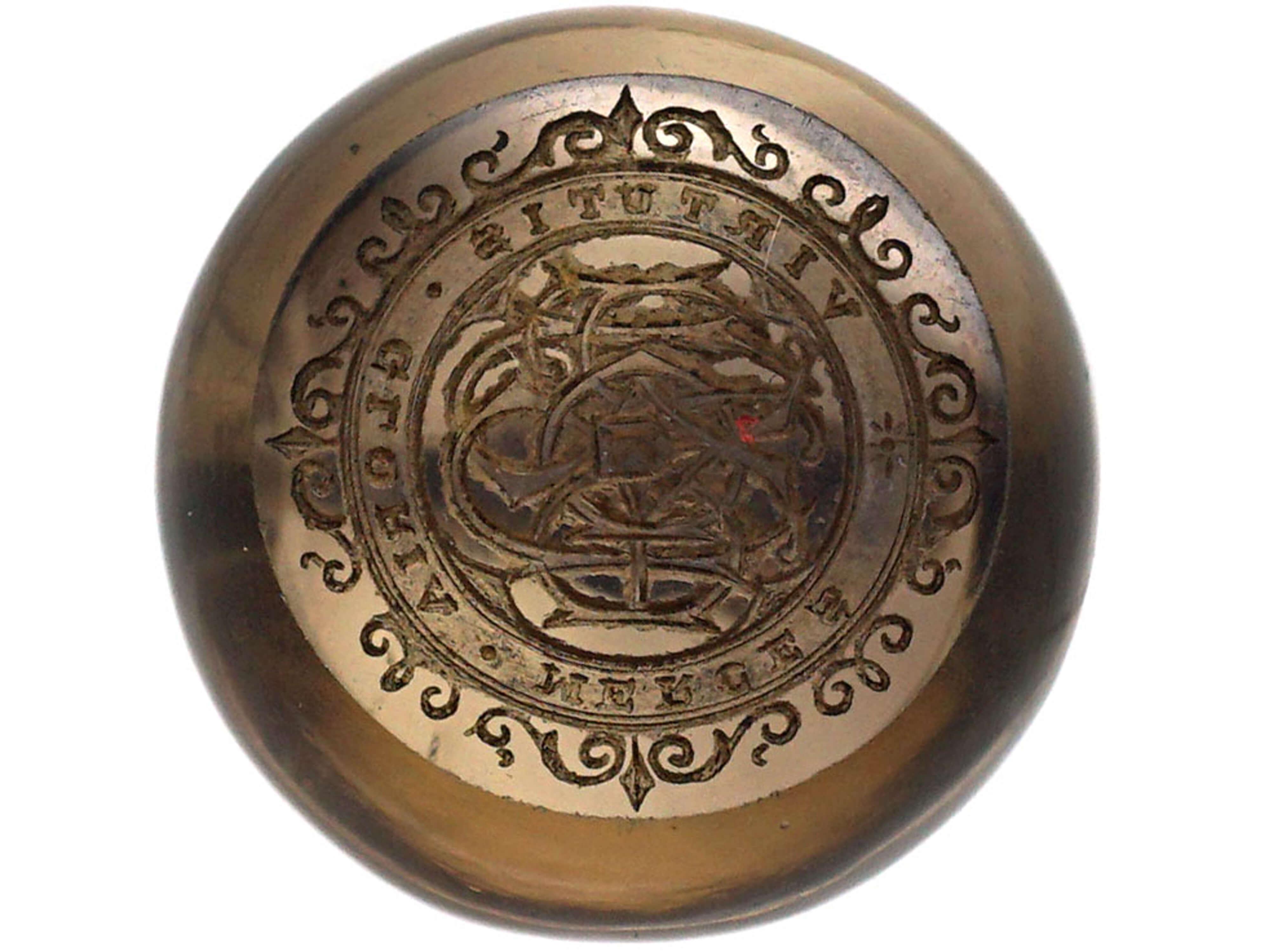 Victorian 15ct Gold & Smokey Quartz Curling Seal with Monogrammed Intaglio