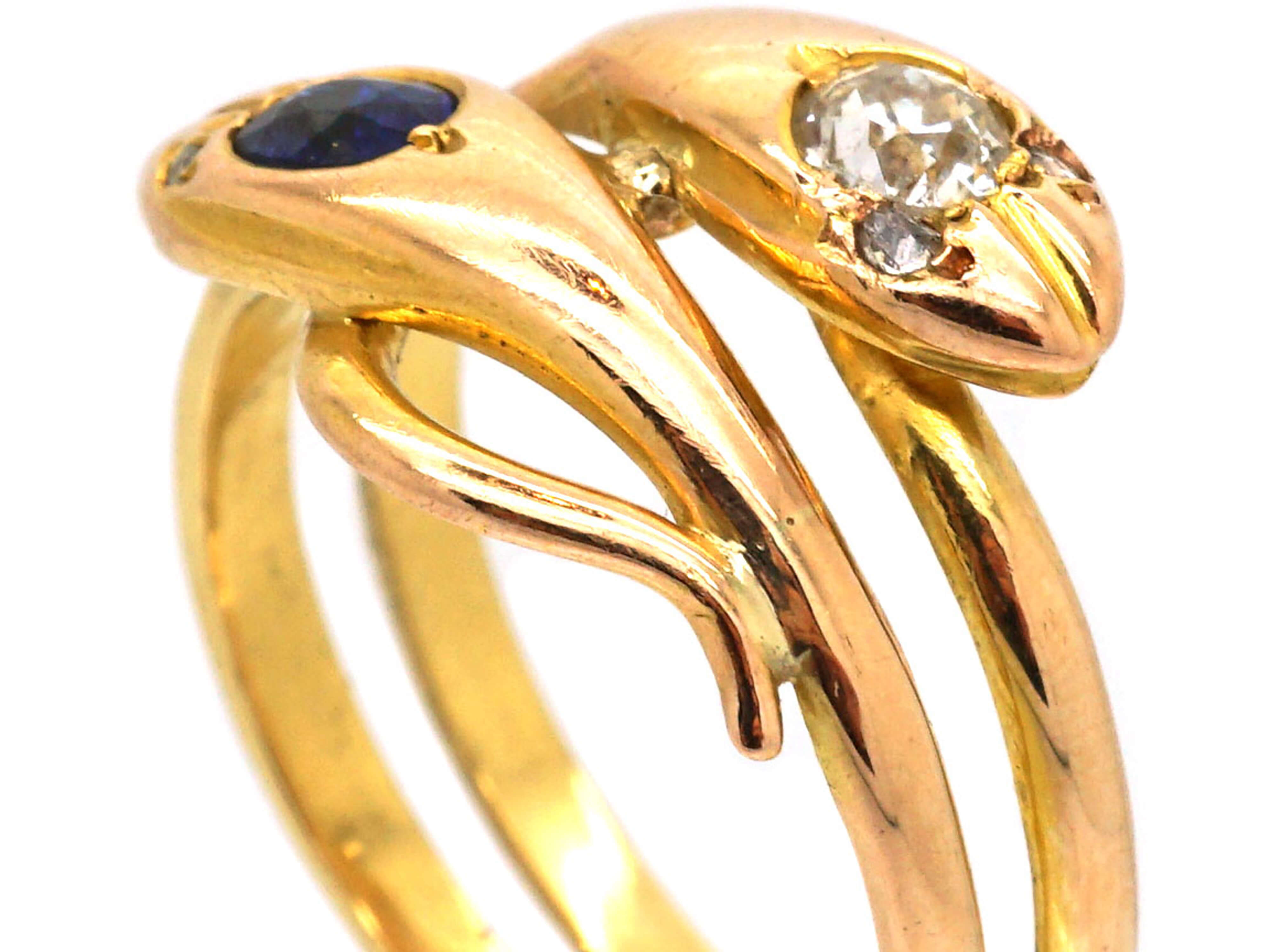Edwardian 18ct Gold Double Snake Ring set with a Sapphire & a Diamond