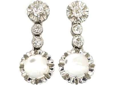 French Belle Epoque Diamond & Moonstone Drop Earrings