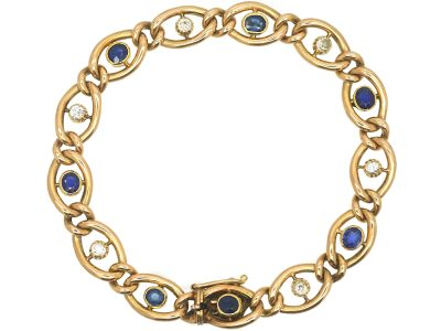 Edwardian 15ct Gold, Sapphire & Diamond Curb Link Bracelet