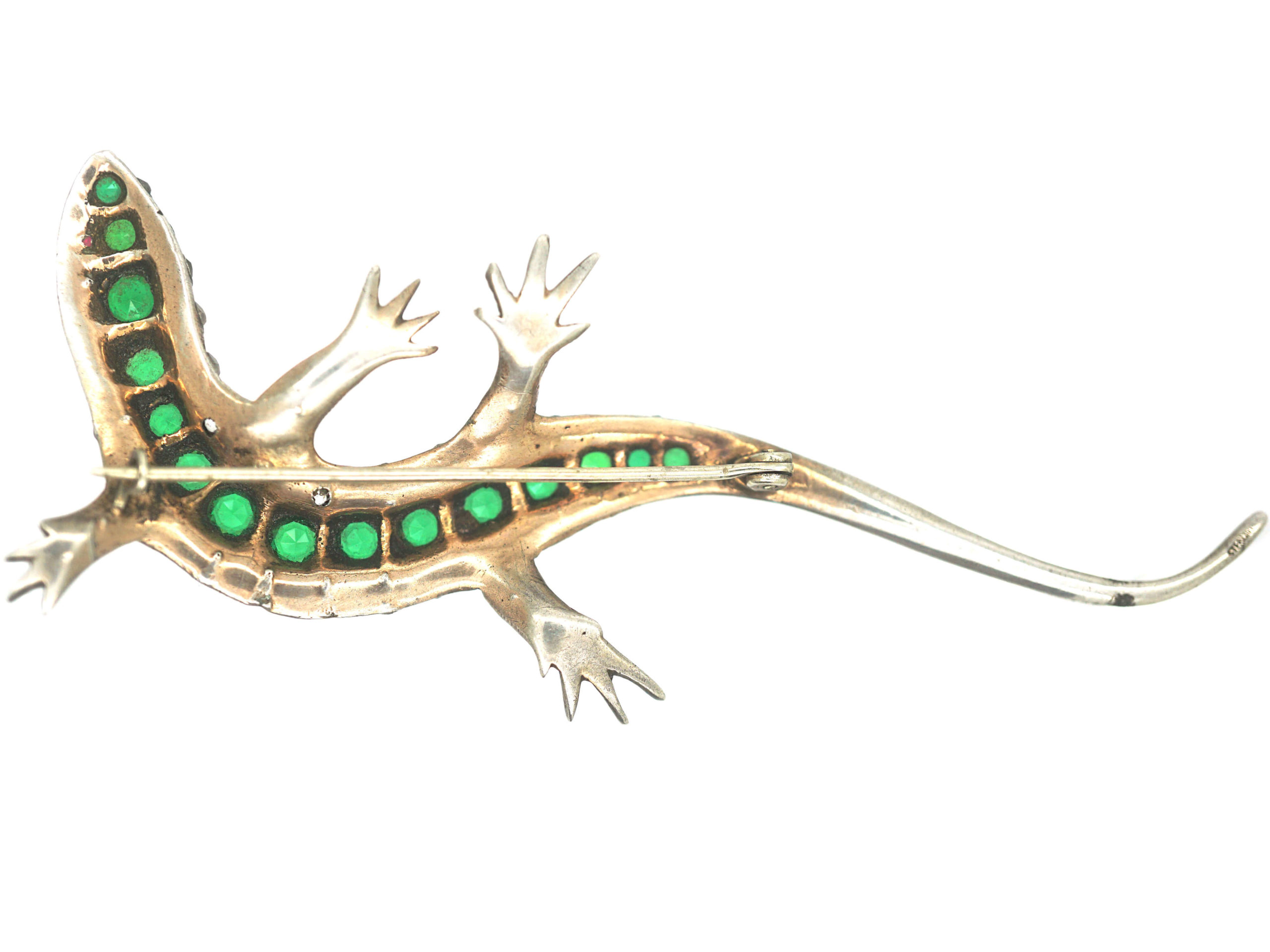 Art Deco Large Silver, Green, White & Red Paste Brooch of a Lizard