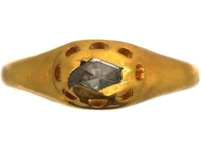 French Early 18th Century 18ct Gold, Rose Diamond Ring