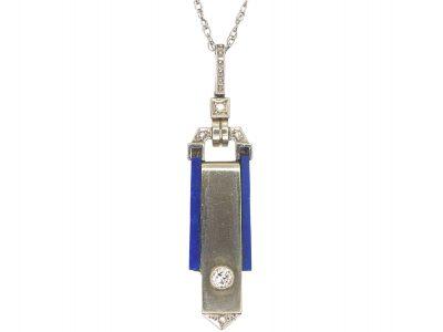 Art Deco 18ct White Gold Lapis Lazuli & Diamond Pendant on 9ct White Gold Chain