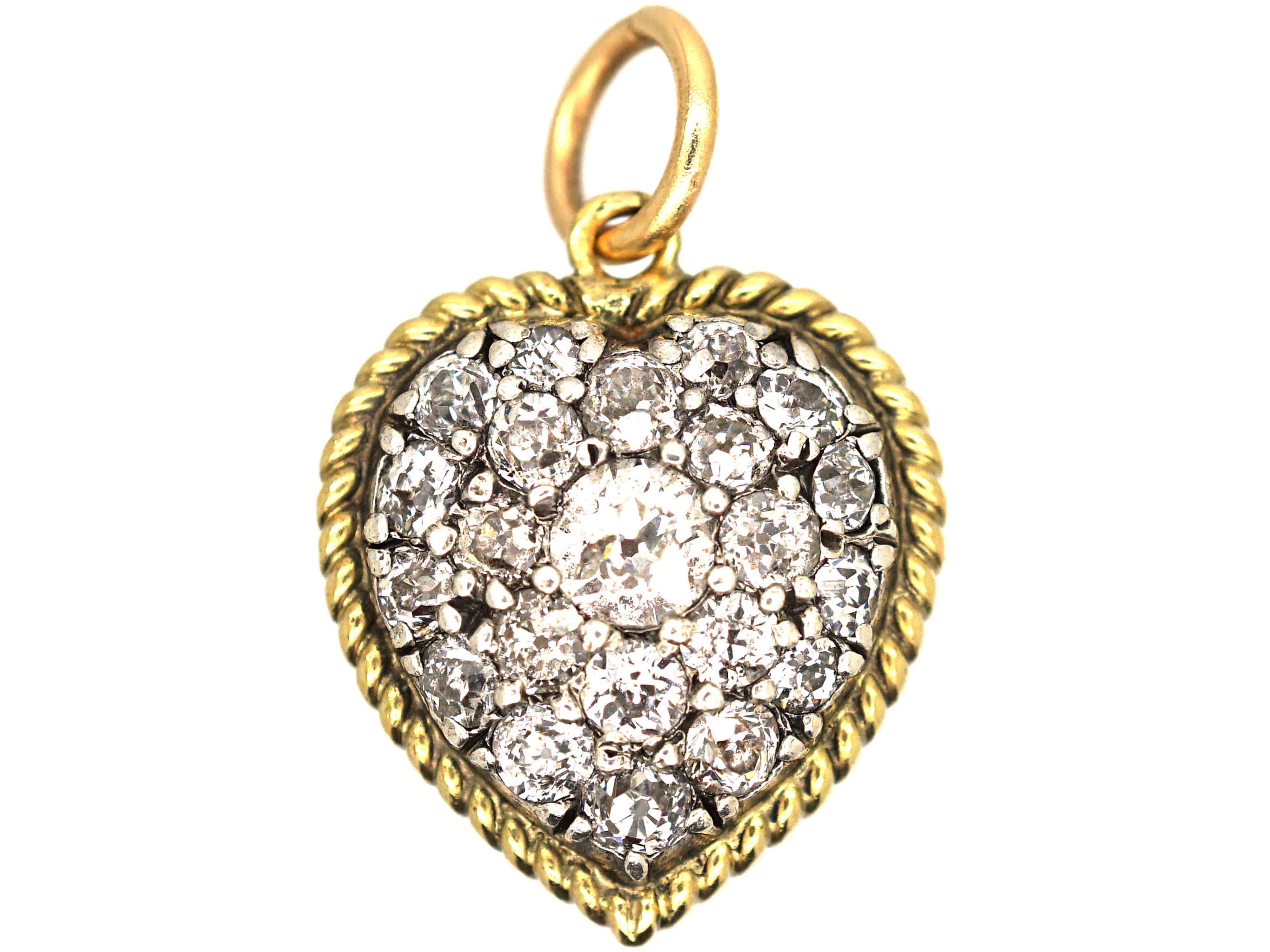 Victorian 18ct Gold, Diamond & Natural Split Pearl Reversible Heart Pendant