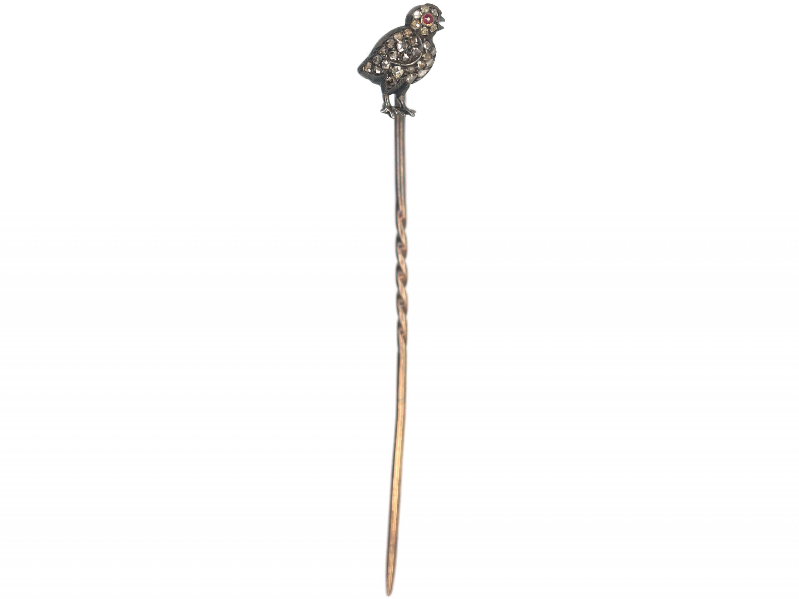 Edwardian 15ct Gold & Silver, Rose Diamond Chick Tie Pin with Ruby Eye