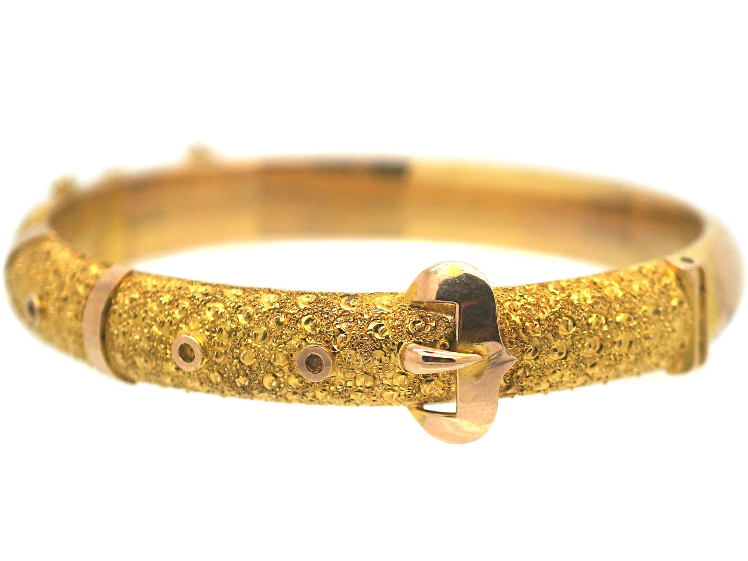 Edwardian 9ct Two Colour Gold Bangle with Buckle Motif