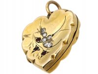 Edwardian 9ct Back & Front Heart Shaped Locket with Swallow Motif set with Garnets & Paste