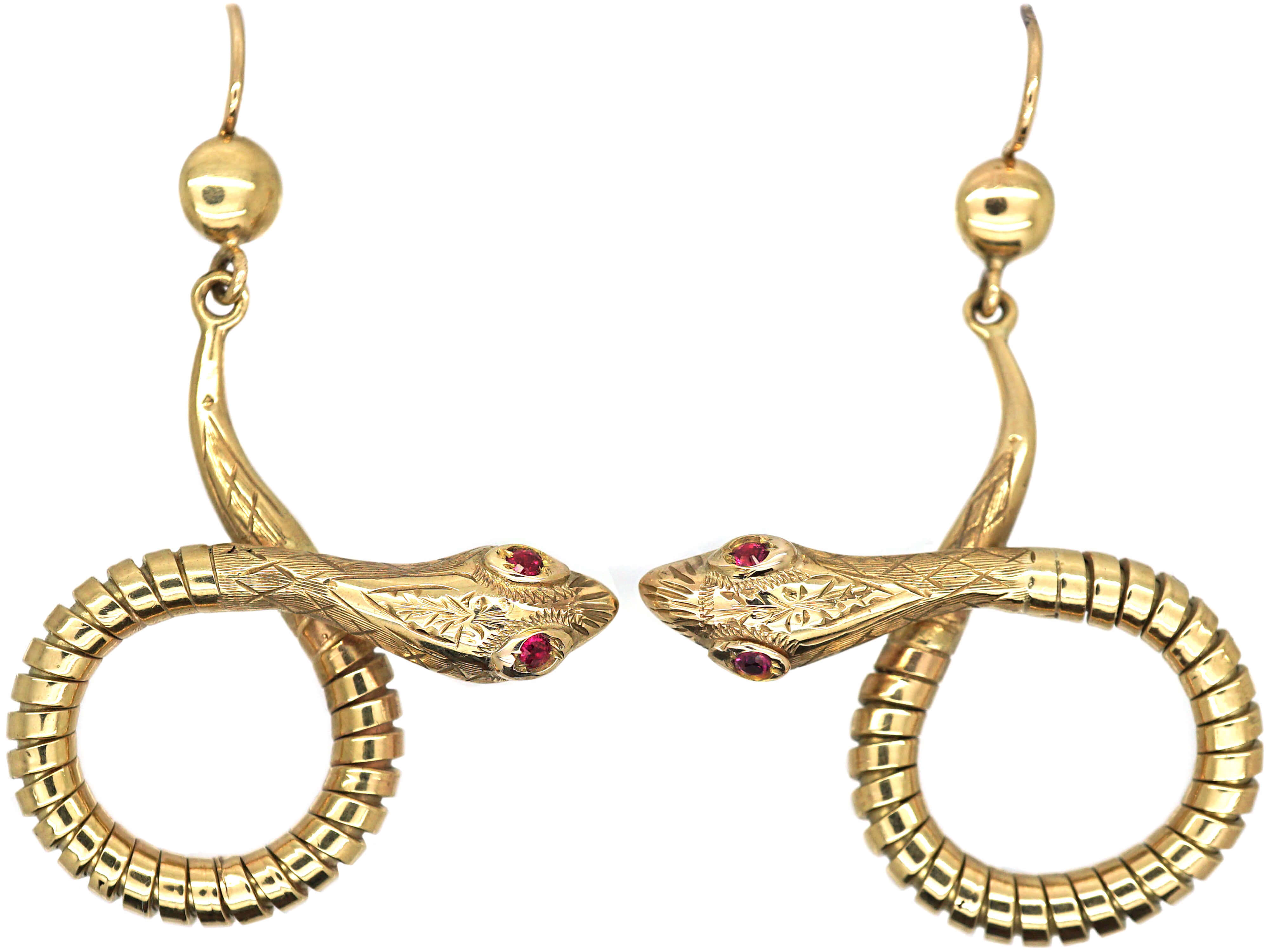 9ct Gold Snake Earrings with Ruby Set Eyes