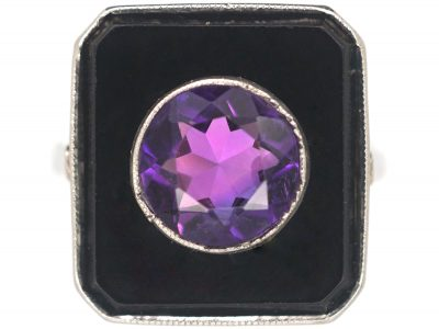 Art Deco Platinum, Onyx & Amethyst Geometric Ring