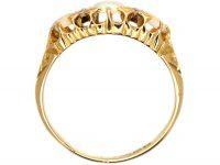 Edwardian 18ct Gold Three Stone Opal & Diamond Ring
