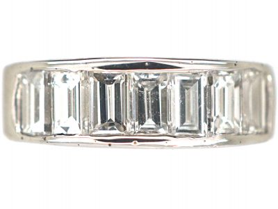 Art Deco 18ct White Gold & Baguette Diamond Ring