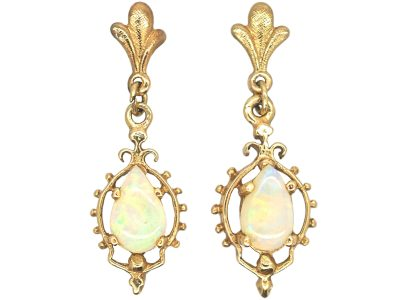 9ct Gold, Opal Drop Earrings
