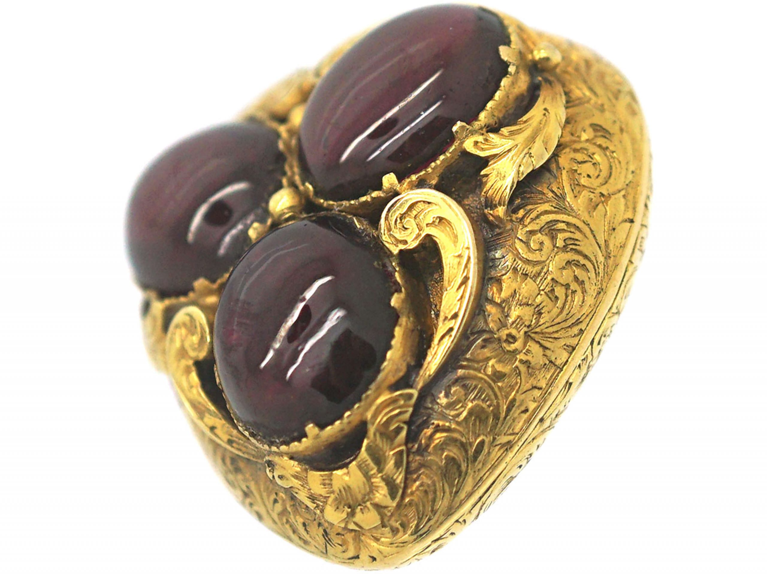 Victorian 15ct Gold & Cabochon Garnet Large Heart Shaped Pendant with Glazed Locket on Reverse