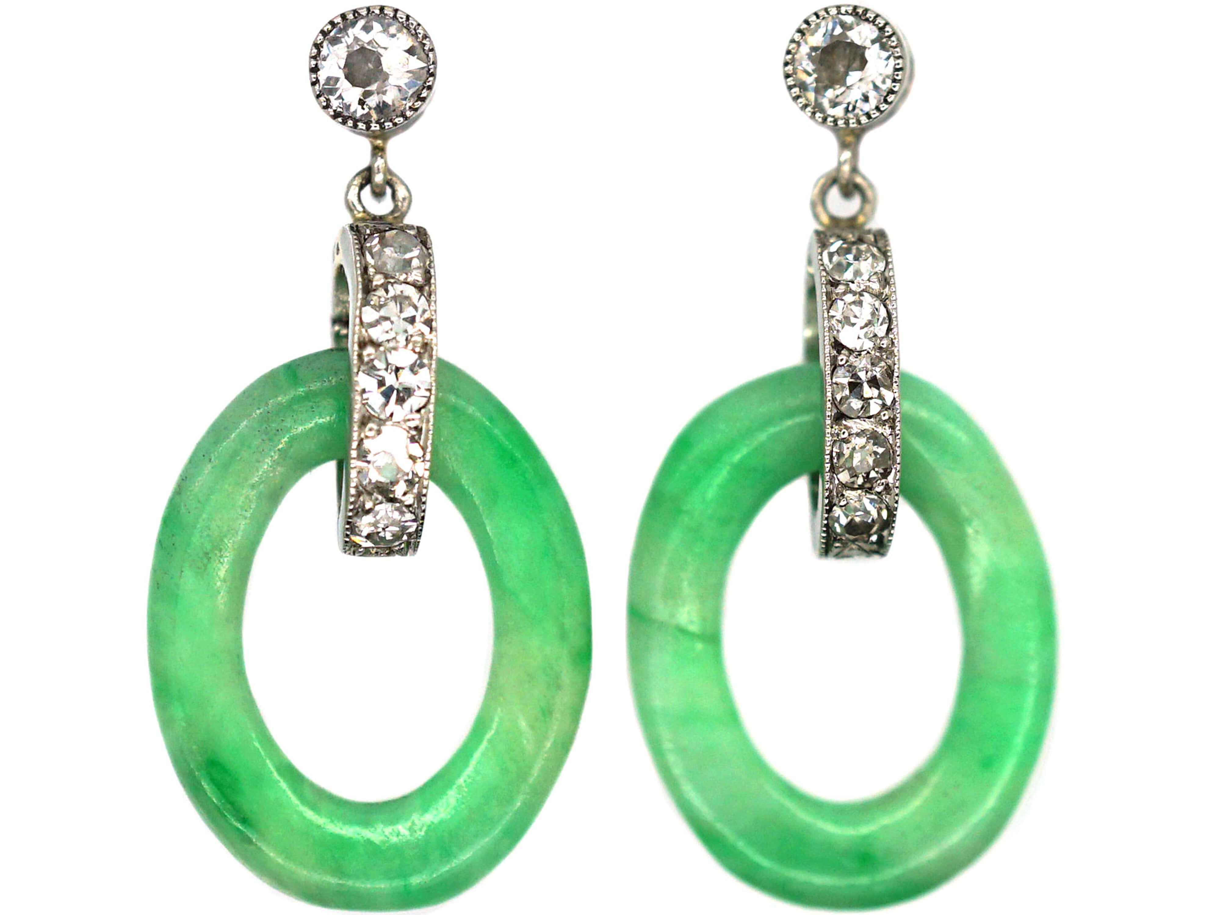 Art Deco Jade & Diamond Drop Earrings
