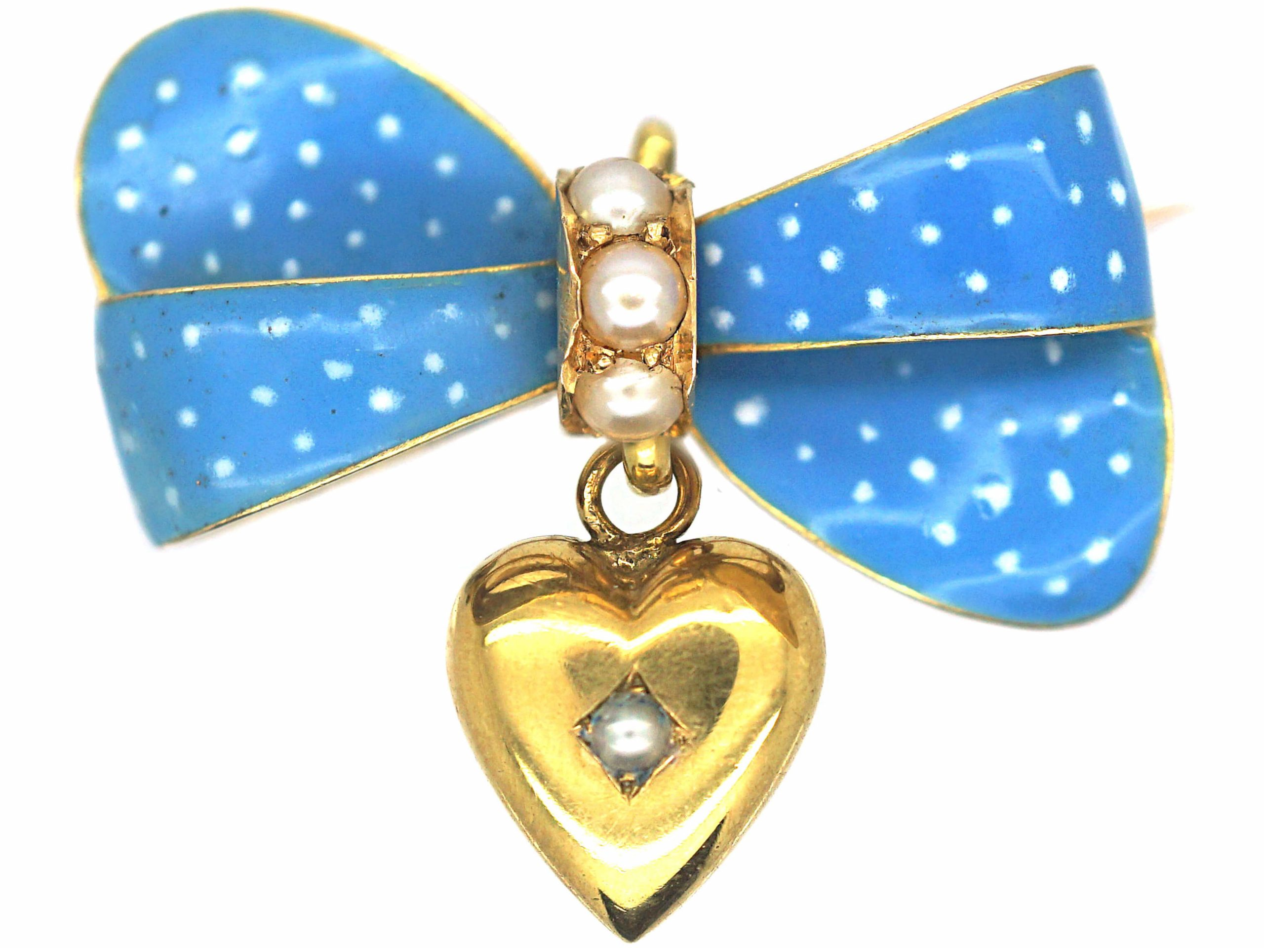 Edwardian 18ct Gold & Blue & White Enamel Bow Brooch with Heart Shaped Drop set with Natural Split Pearls