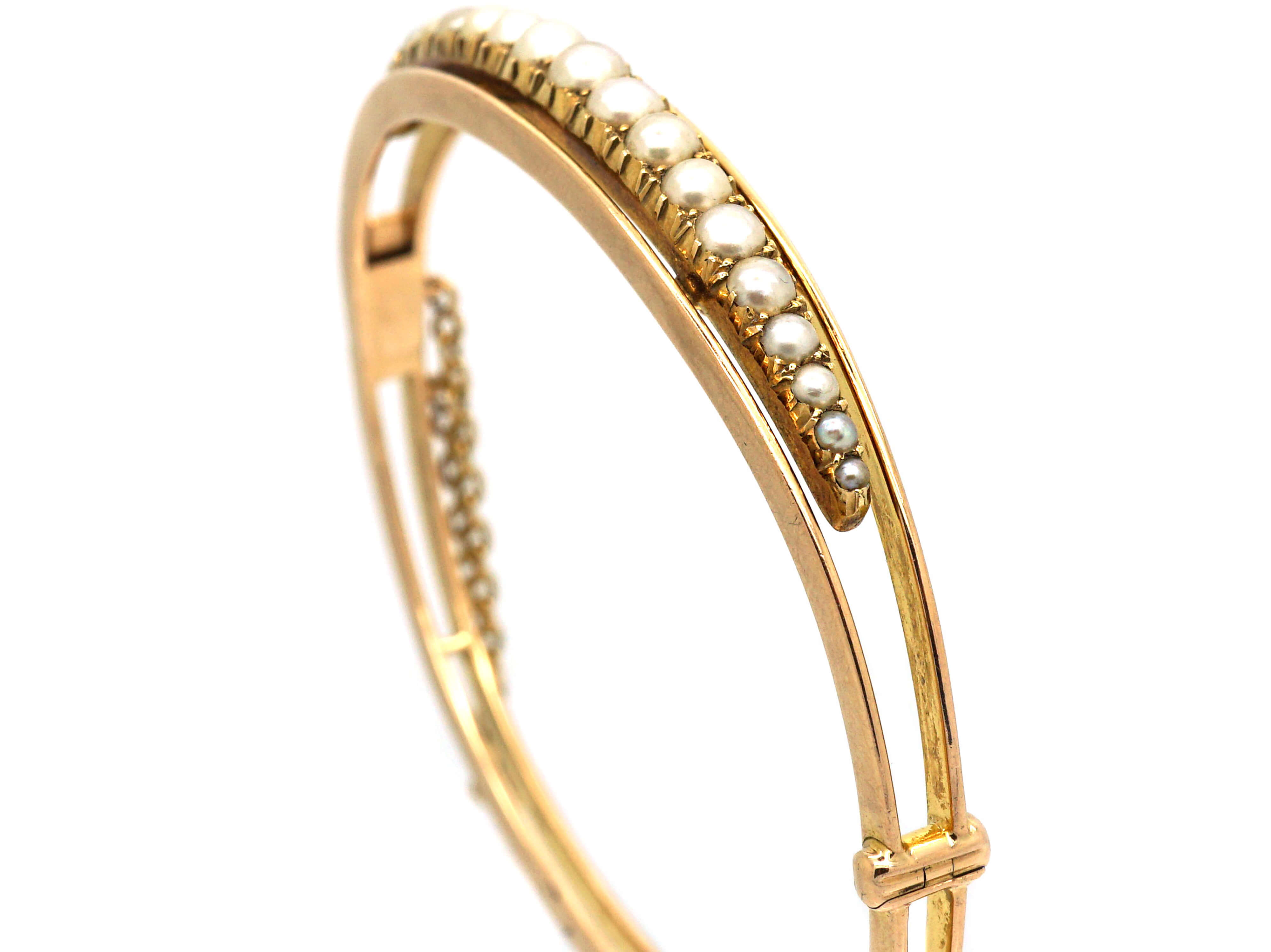 Edwardian 15ct Gold & Natural Split Pearls Bangle