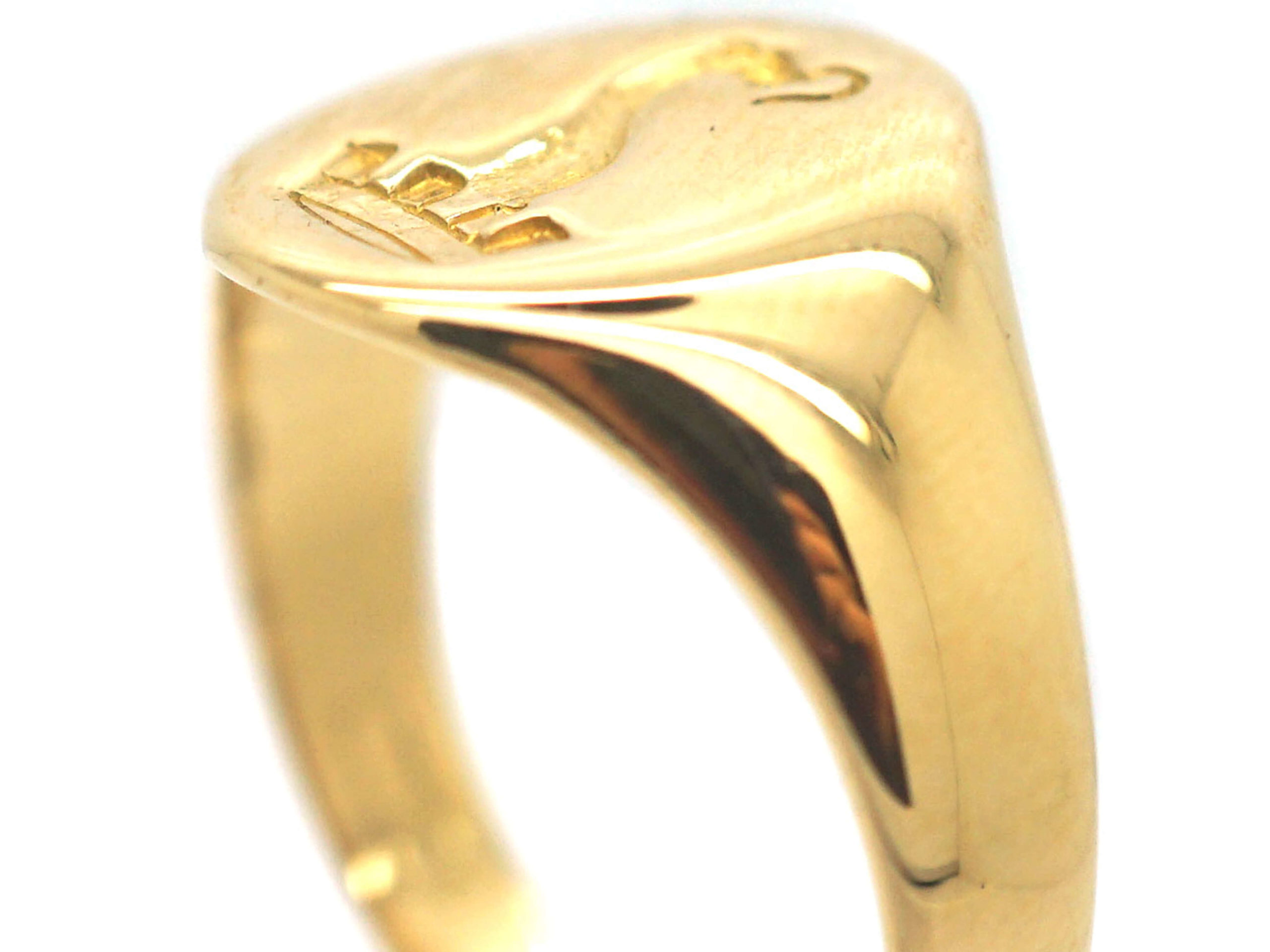 18ct Gold Signet Ring with Intaglio of a Serpent & Crown