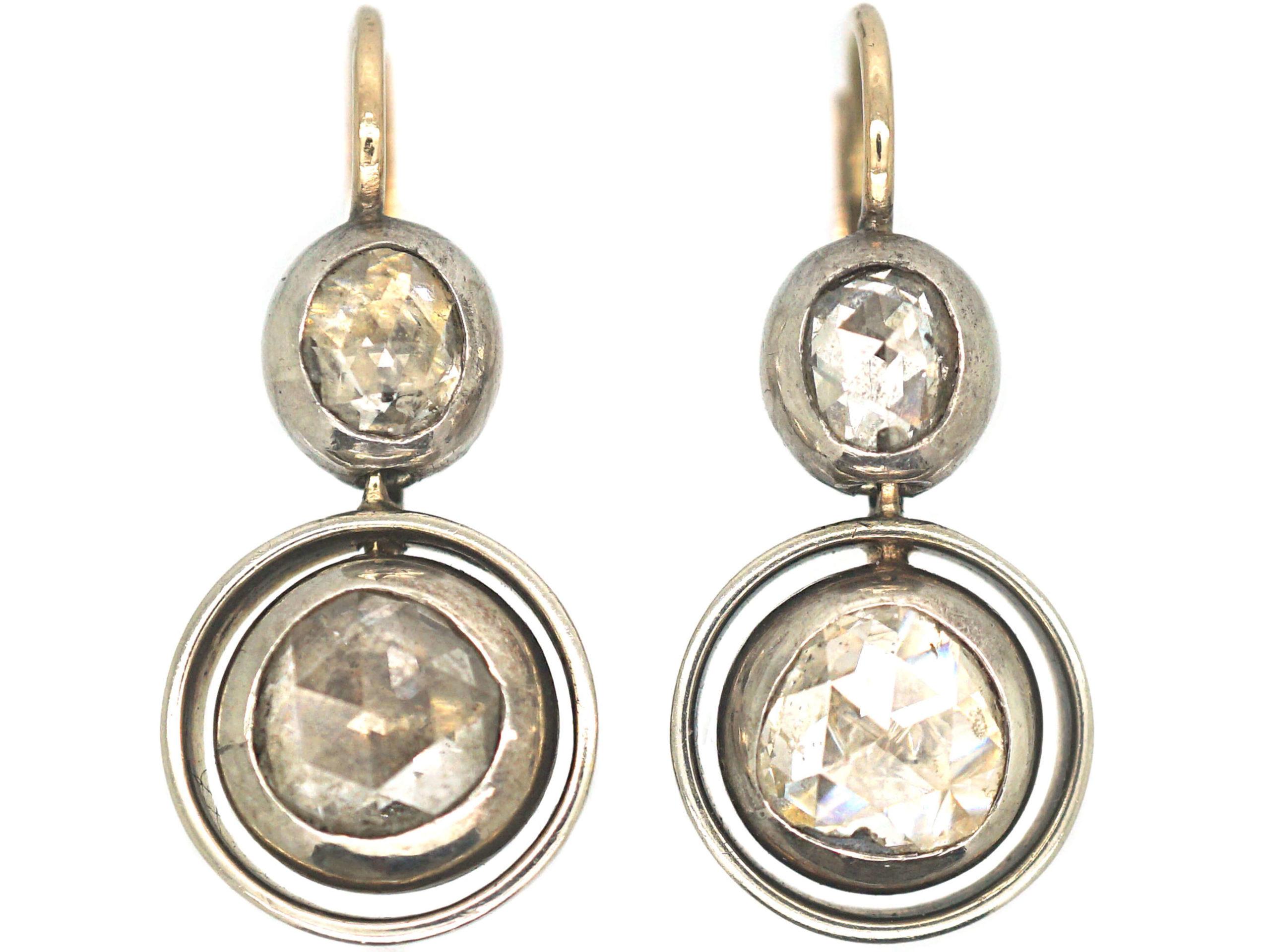 Art Deco Silver & Gold Rose Diamond Drop Earrings