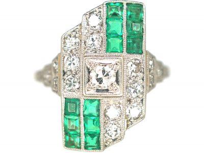 Art Deco 18ct Gold & Platinum, Emerald & Diamond Geometric Design Ring
