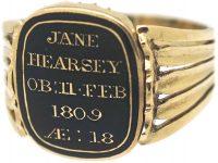 Georgian 18ct Gold, Cabochon Garnet & Natural Split Pearl Swivel Mourning Ring