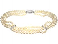 French Art Deco Cultured Pearl Three Row Necklace with Platinum & Diamond Clasp and Bars