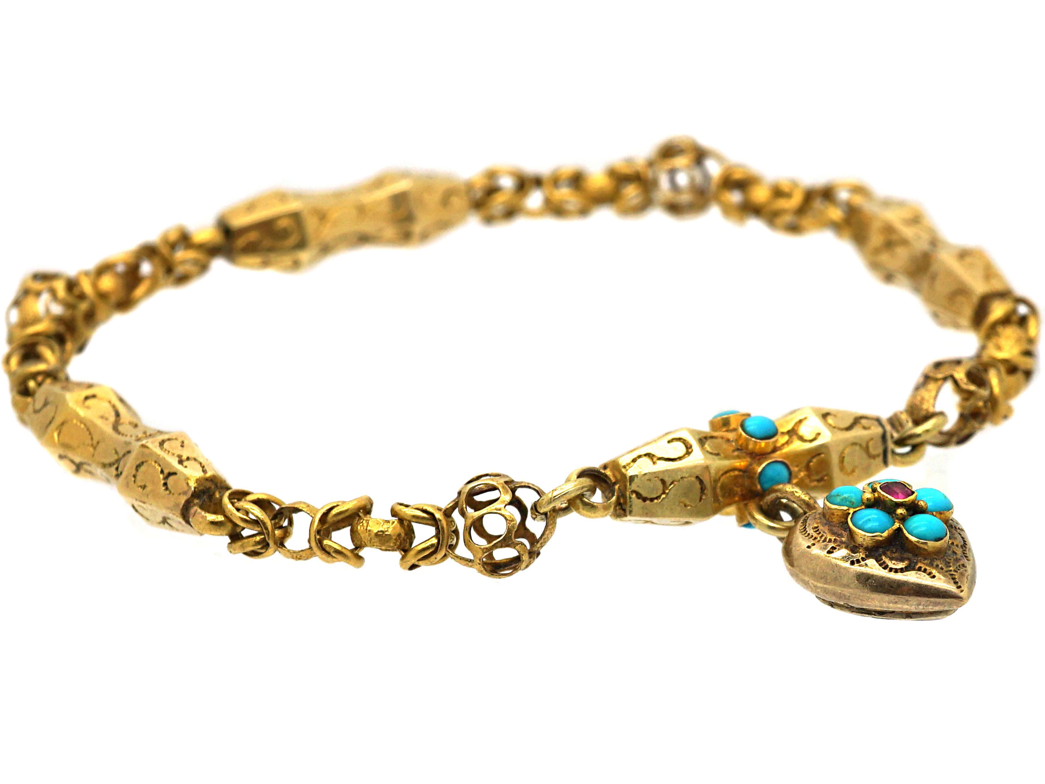 Georgian 15ct Gold & Turquoise Forget Me Not Bracelet with Heart Shaped Drop with Glazed Locket on Reverse