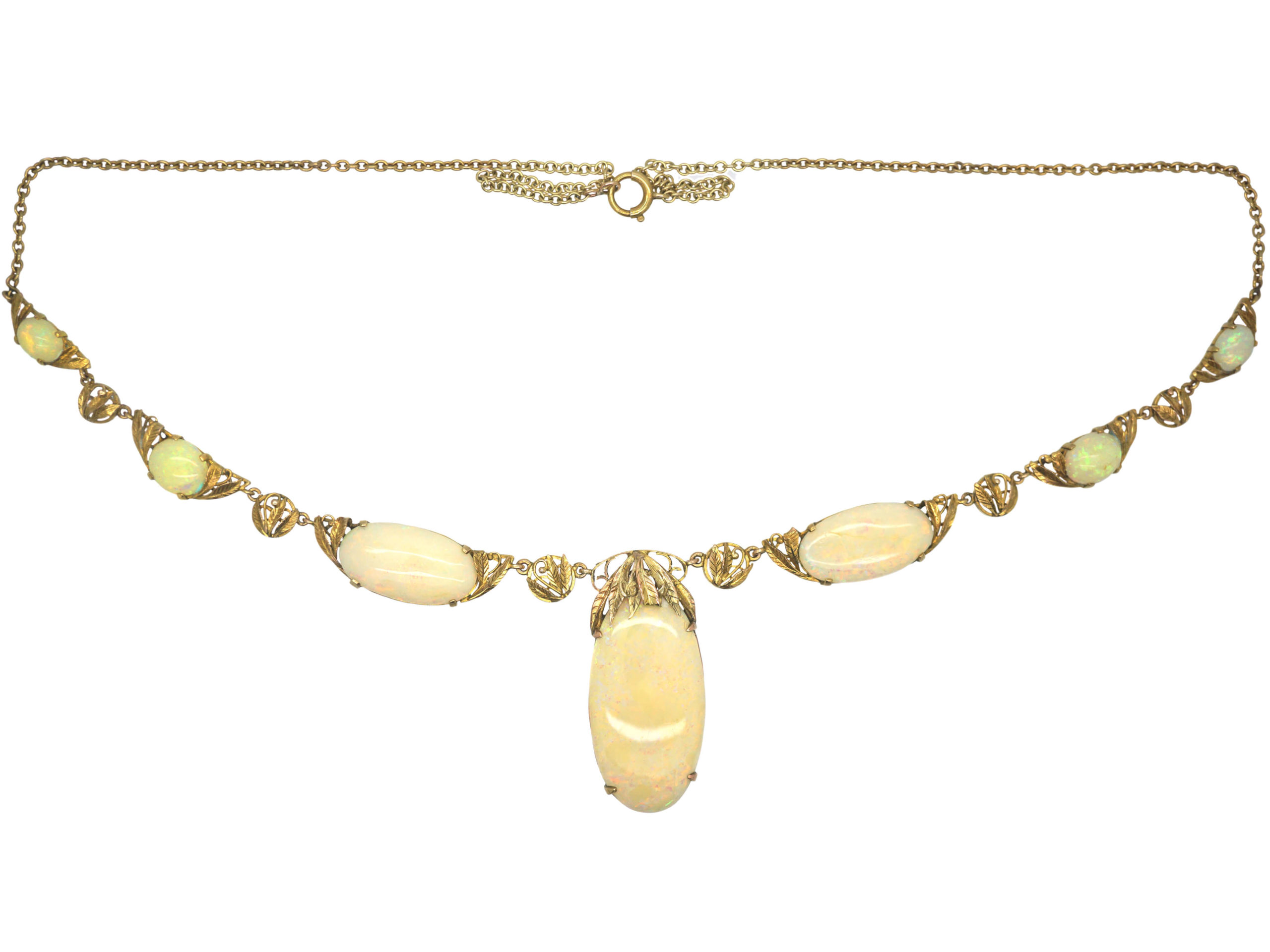 Arts & Crafts 9ct Gold & Opal Necklace