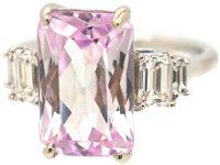 18ct White Gold, Kunzite & Diamond Ring
