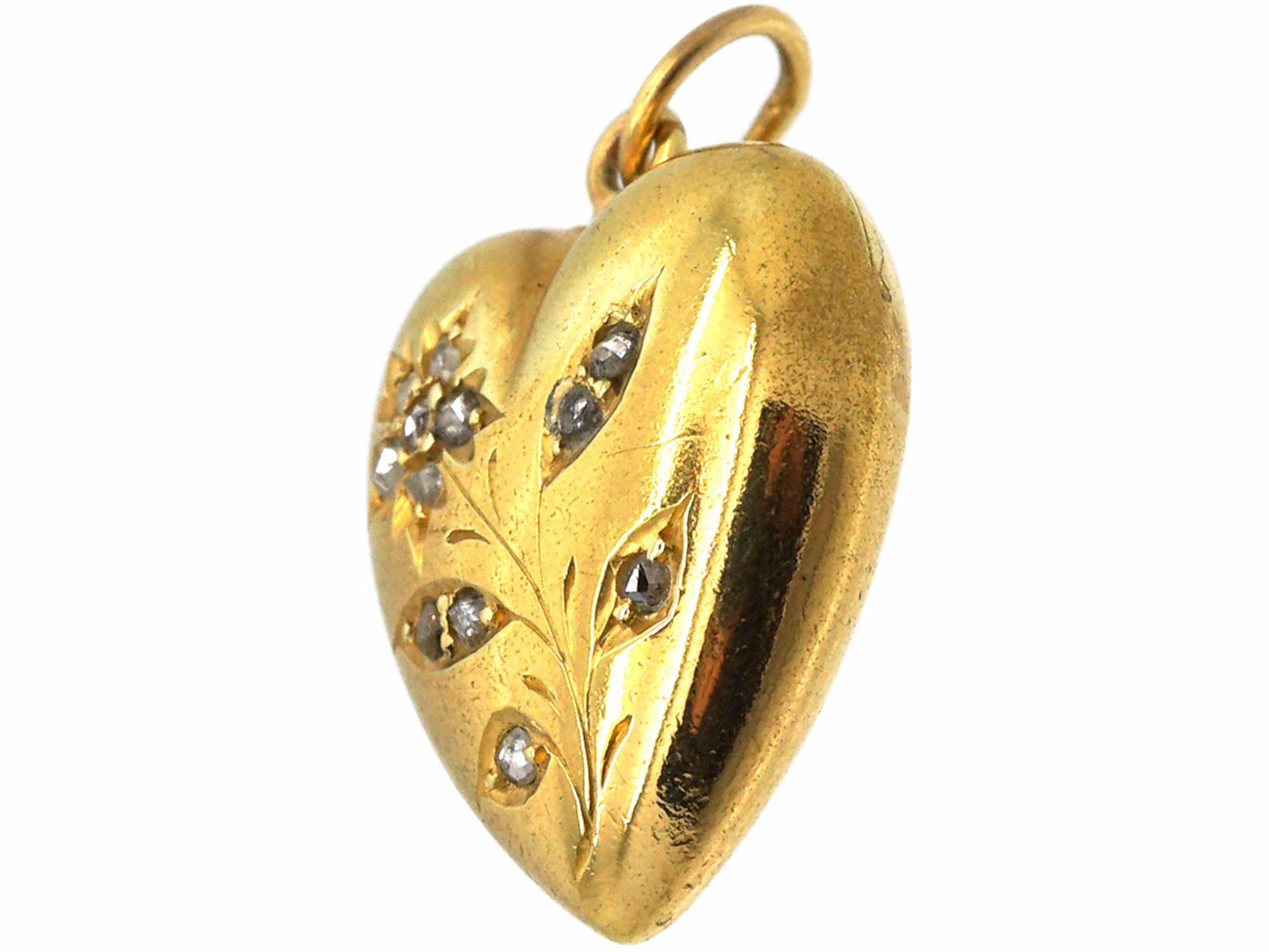 Edwardian 15ct Gold Heart Shaped Pendant with Rose Diamond Set Flower Motif