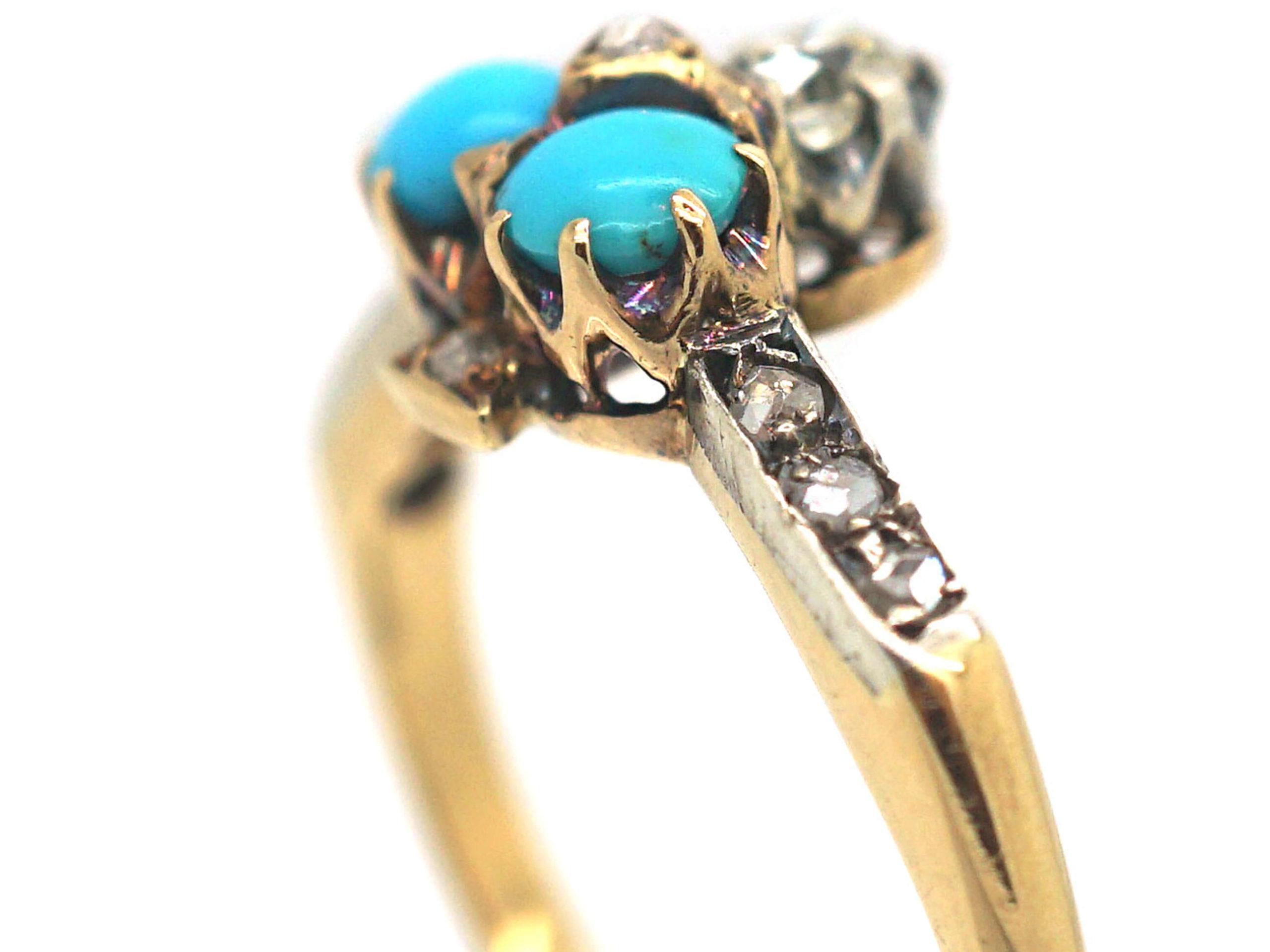 Edwardian 18ct Gold Turquoise & Diamond Shamrock Ring