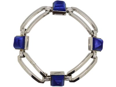 French Art Deco 18ct White Gold & Lapis Lazuli Bracelet