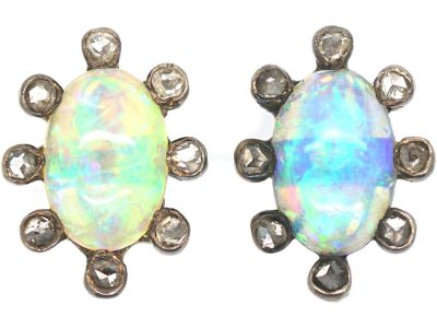 Edwardian Opal & Rose Diamond Oval Shaped Earrings