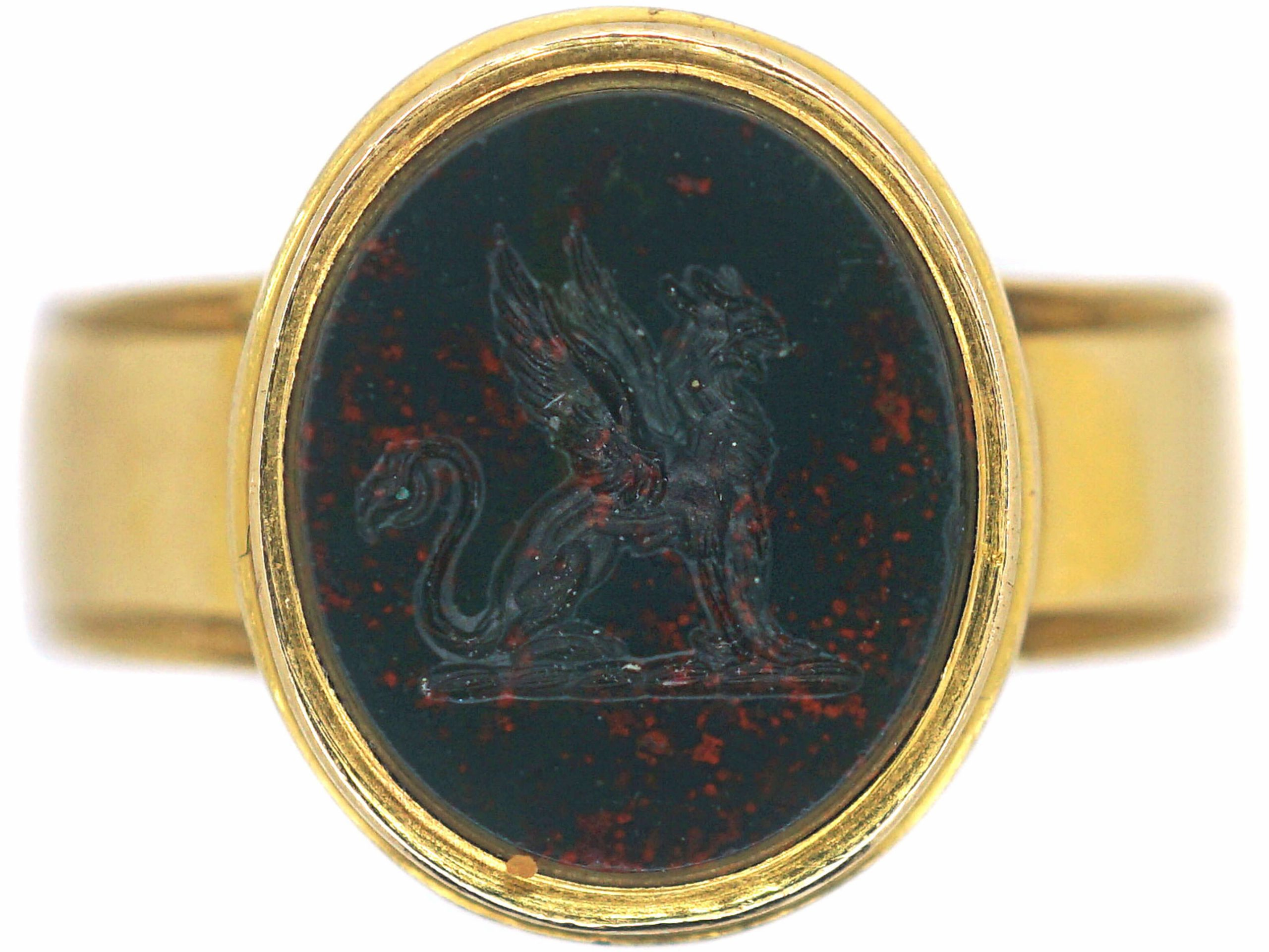 Victorian 18ct Gold Signet Ring with Bloodstone Intaglio of a Heraldic Griffon