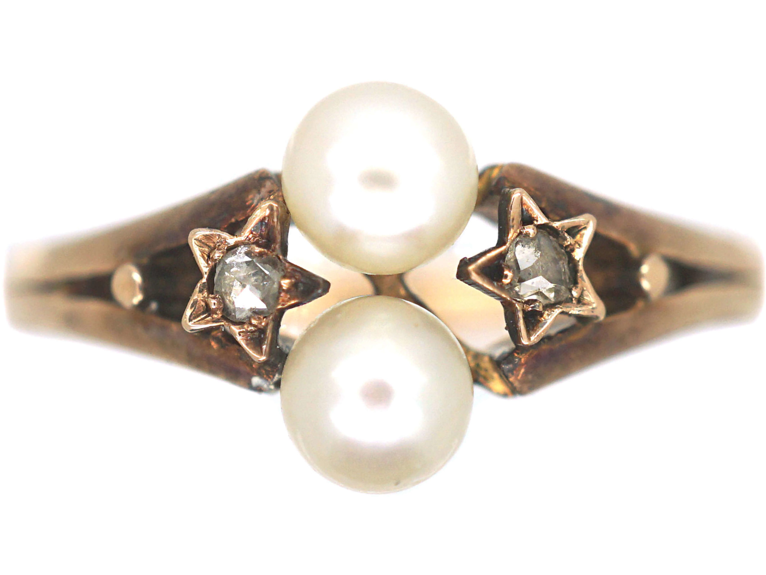 French Belle Epoque 18ct Gold Ring set with Two Natural Pearls & Two Rose Diamonds