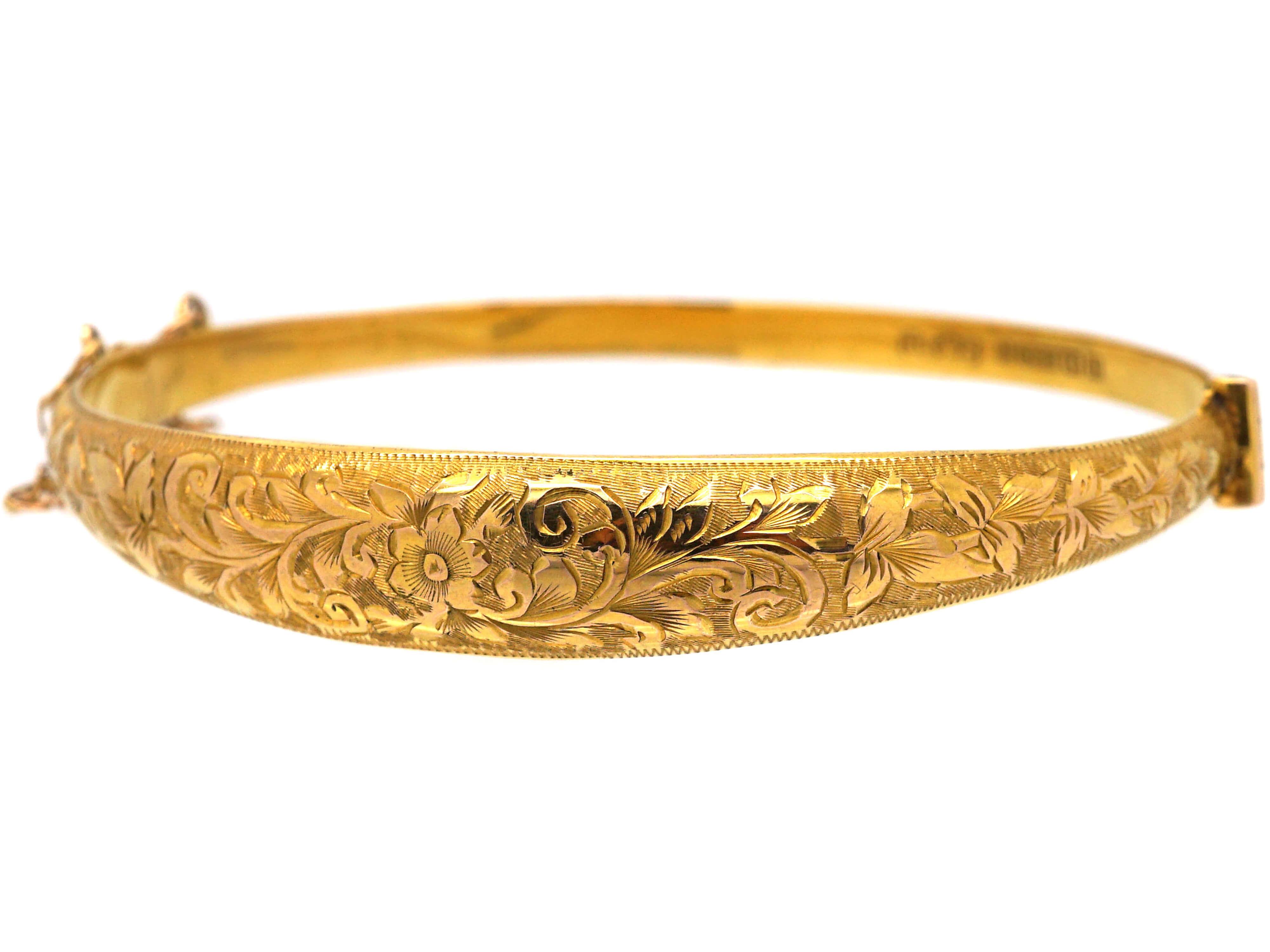 Edwardian 9ct Gold Engraved Bangle