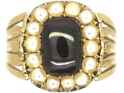 Georgian 18ct Gold, Cabochon Garnet & Natural Split Pearl Swivel Mourning Ring