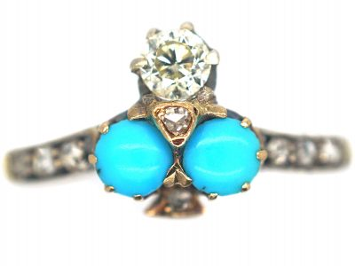 Edwardian 18ct Gold Turquoise & Diamond Shamrock Ring