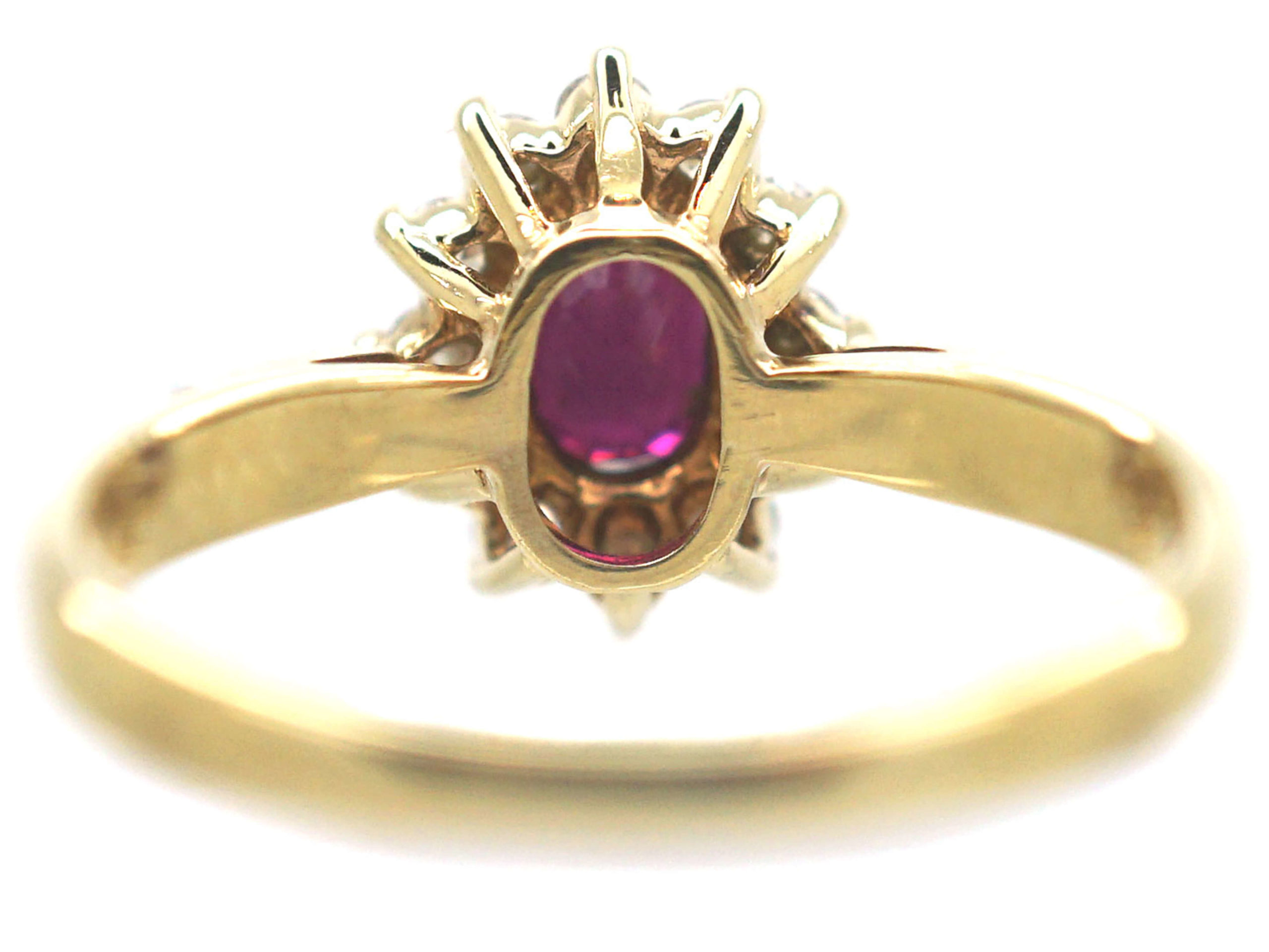 9ct Gold Ruby & Diamond Oval Cluster Ring
