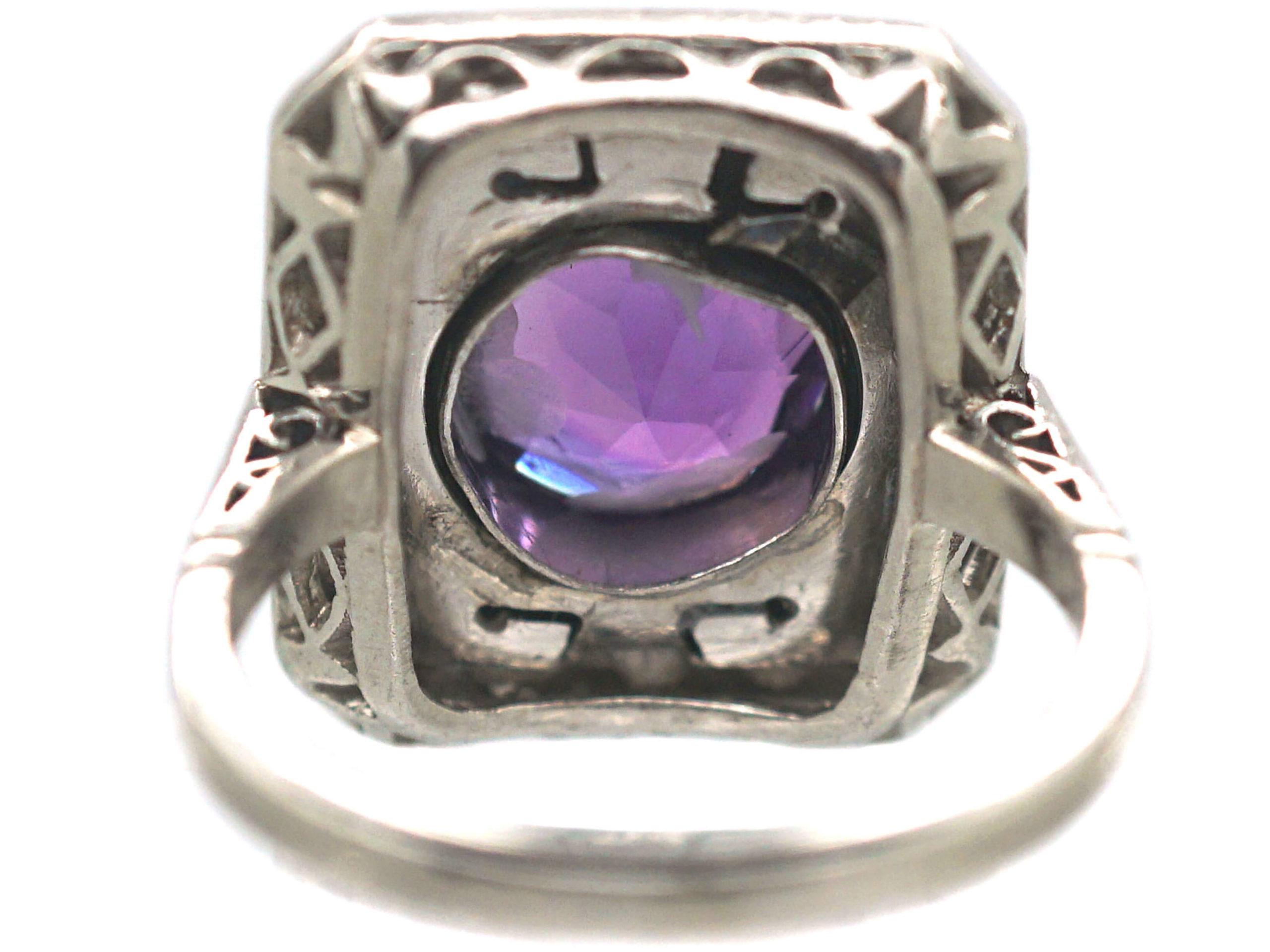 Art Deco Platinum, Onyx & Amethyst Geometric Ring