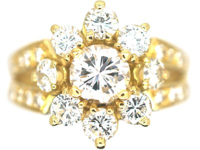 French 18ct Gold Diamond Cluster Ring with Split Shoulders set with Diamonds