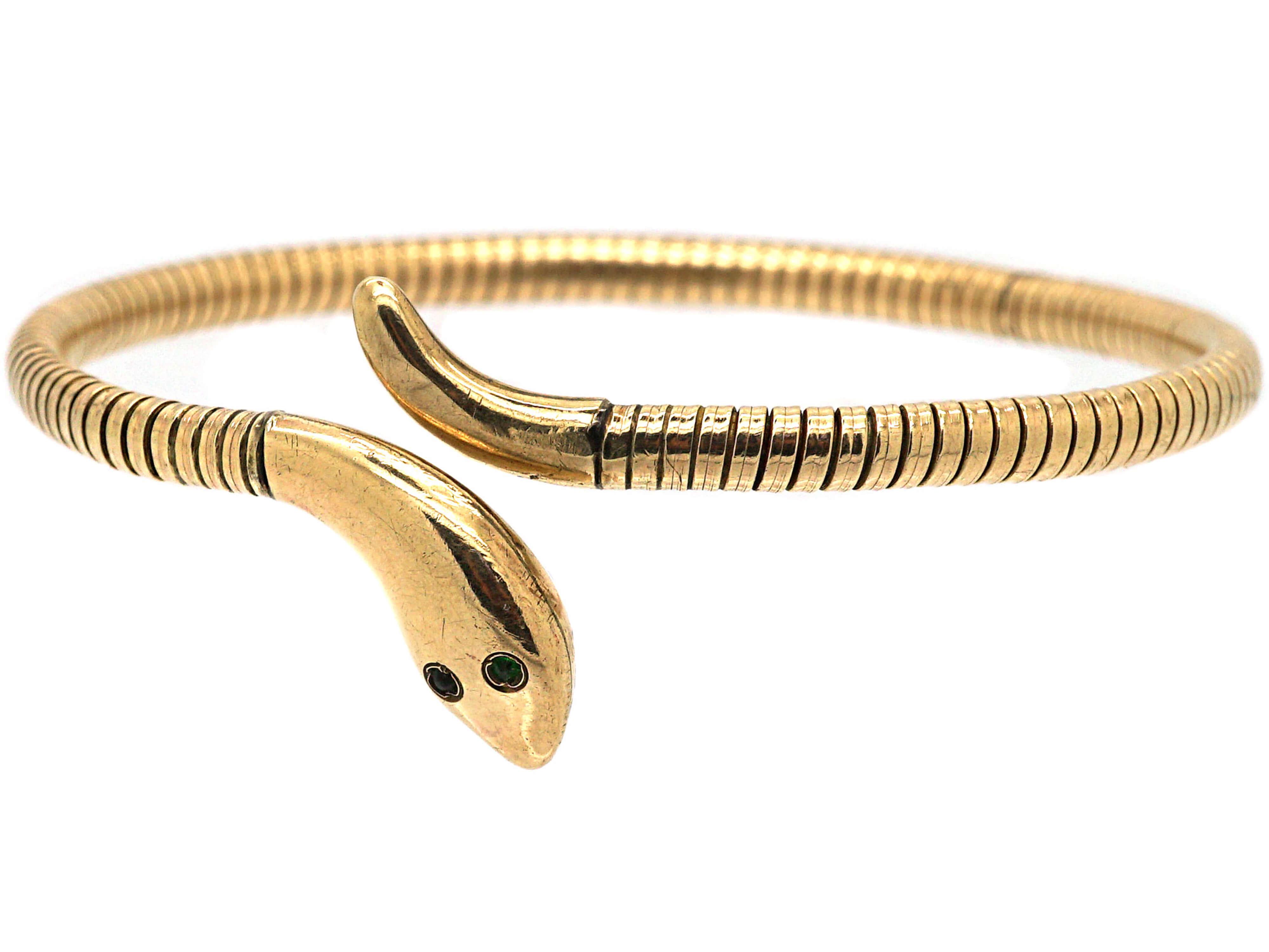 9ct Gold Snake Bangle with Green Garnet Eyes