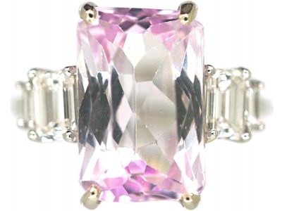 18ct White Gold, Kunzite & Diamond Ring