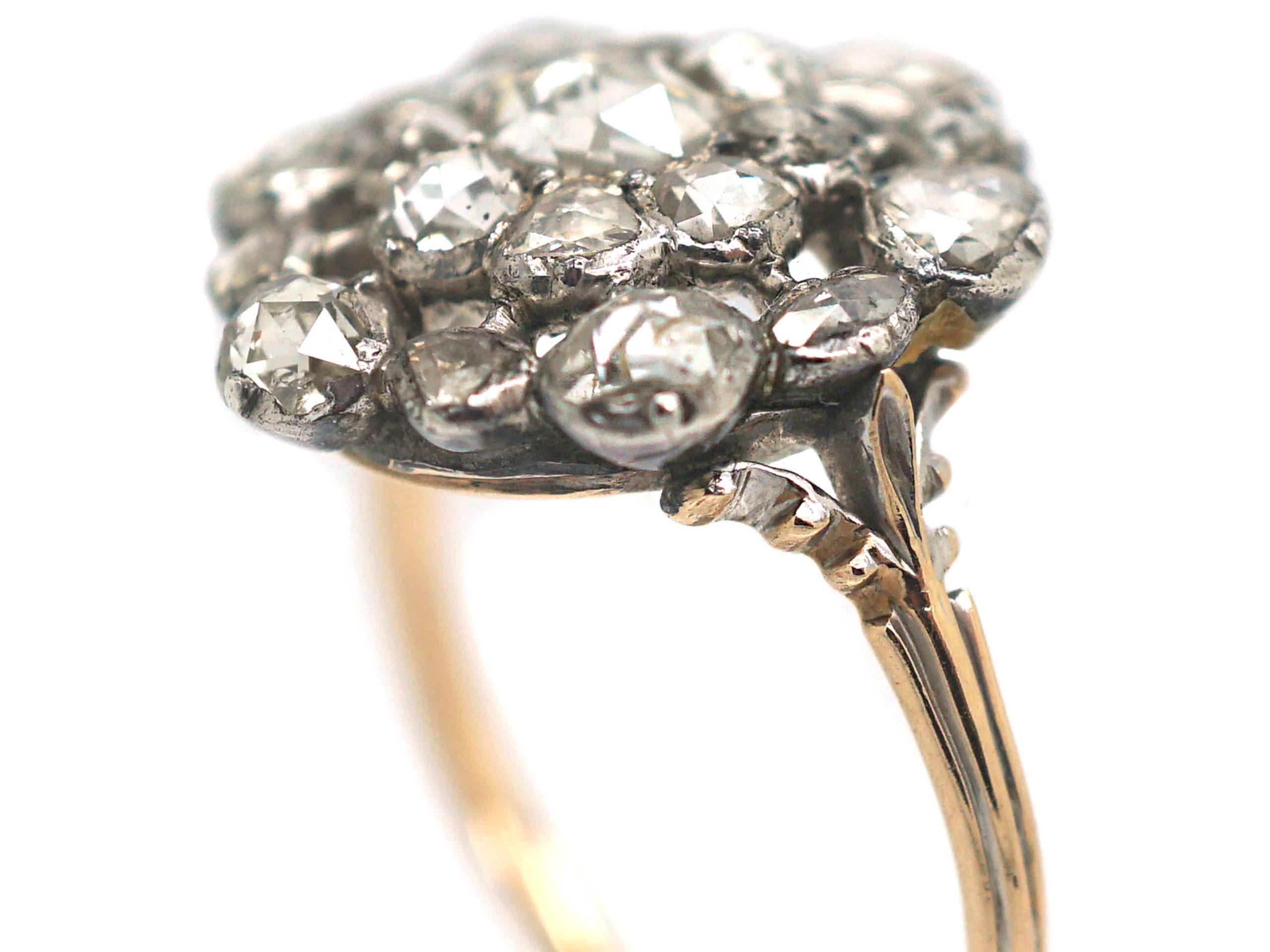 Large Georgian Rose Diamond Cluster Ring