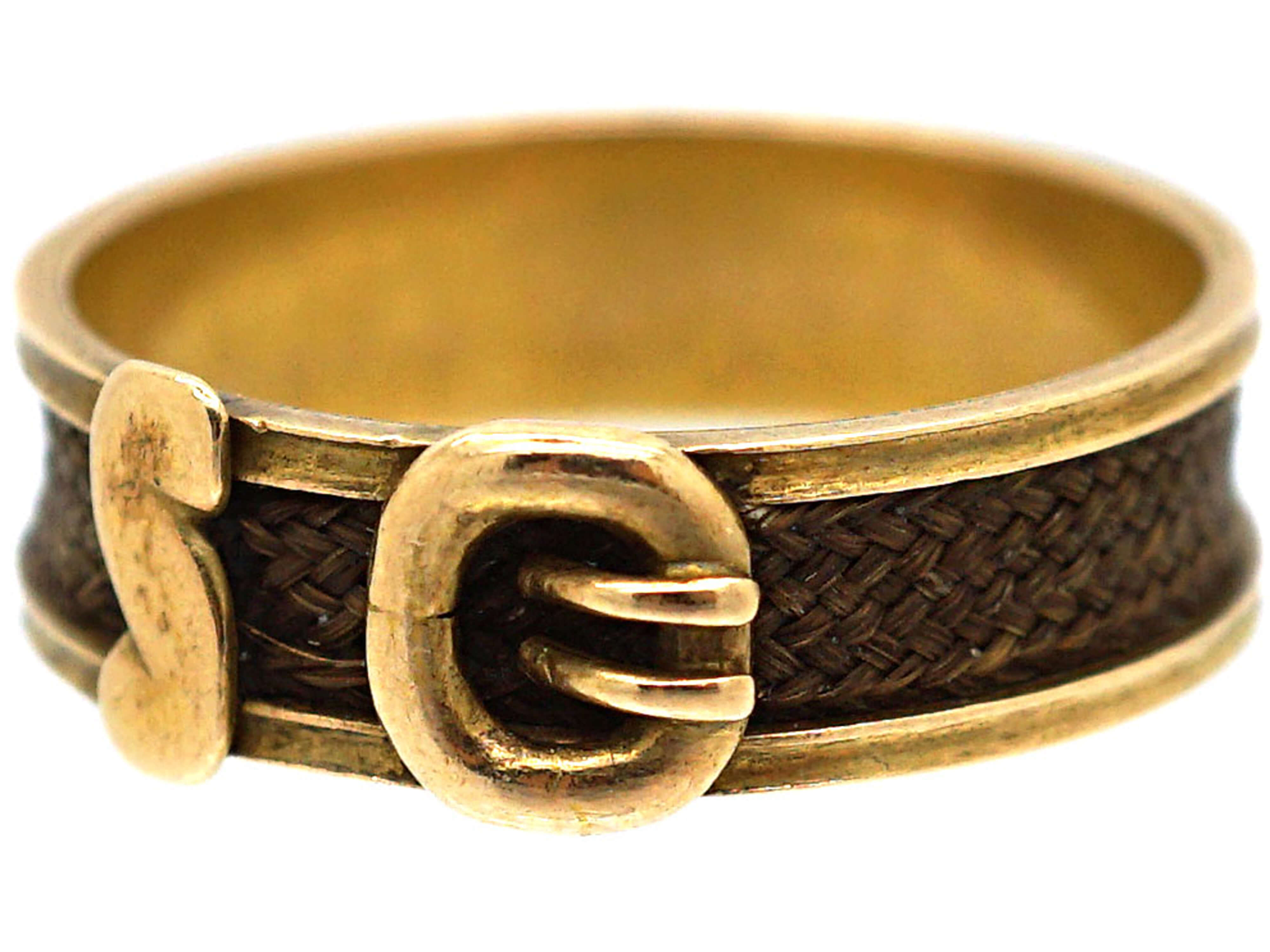 Victorian 18ct Gold & Hair Mourning Ring with Buckle Design