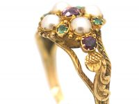Regency 15ct Gold, Ruby Emerald & Natural Split Pearl Cluster Ring with Glazed Locket on Reverse