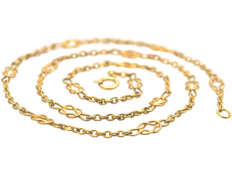 Edwardian 15ct Gold Chain with Knot Motifs