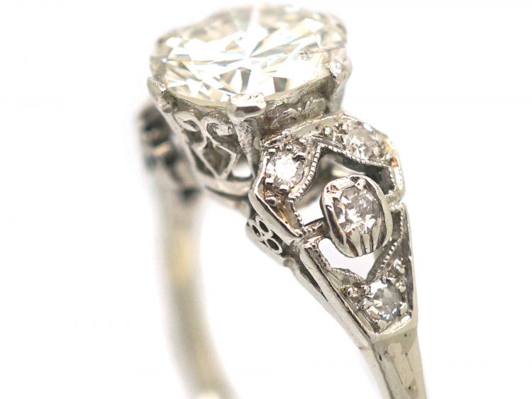 Art Deco Platinum, Solitaire Diamond Ring with Diamond Set Shoulders
