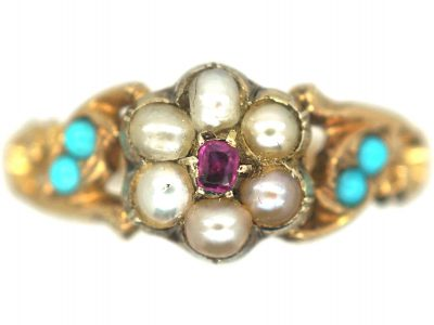 Regency 15ct Gold Ruby & Natural Split Pearl Cluster Ring with Turquoise set Shoulders & Glazed Locket on Reverse