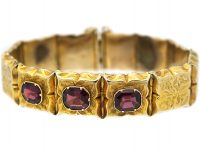 Victorian 15ct Gold Engraved Bracelet set with Three Almandine Garnets with Glazed Locket on the Reverse